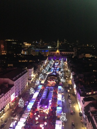 View of the Christmas market in Brussels from the top of the ferris wheel